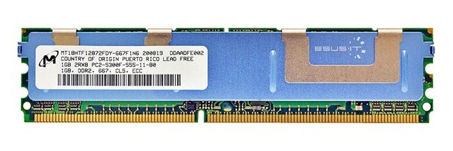 Arbeitspeicher 1x 1GB Micron ECC FULLY BUFFERED DDR2 667MHz PC2-5300 FBDIMM | MT18HTF12872FDY-667F1N6